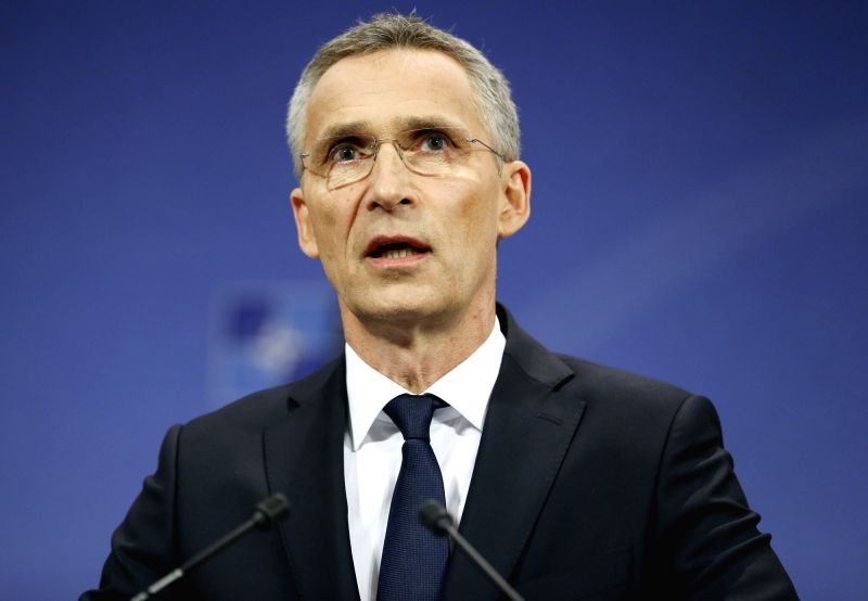BRUSSELS, May 25, 2017 - NATO Secretary General Jens Stoltenberg addresses a press conference after the one-day NATO Summit, in Brussels, Belgium, May 25, 2017. The North Atlantic Treaty Organization ...