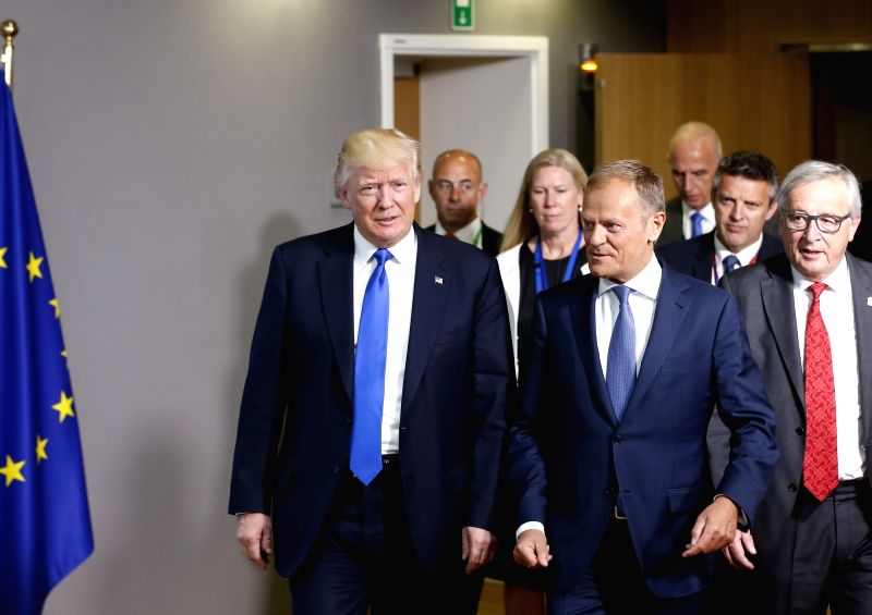 BRUSSELS, May 25, 2017 - U.S. President Donald Trump (Front L), European Council President Donald Tusk (Front C) and European Commission President Jean-Claude Juncker (Front R) talk after EU-USA ...