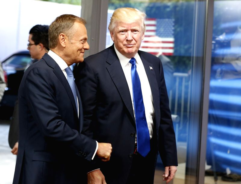 BRUSSELS, May 25, 2017 - U.S. President Donald Trump (R) is welcomed by European Council President Donald Tusk upon his arrival at the EU headquarters in Brussels, Belgium, May 25, 2017.
