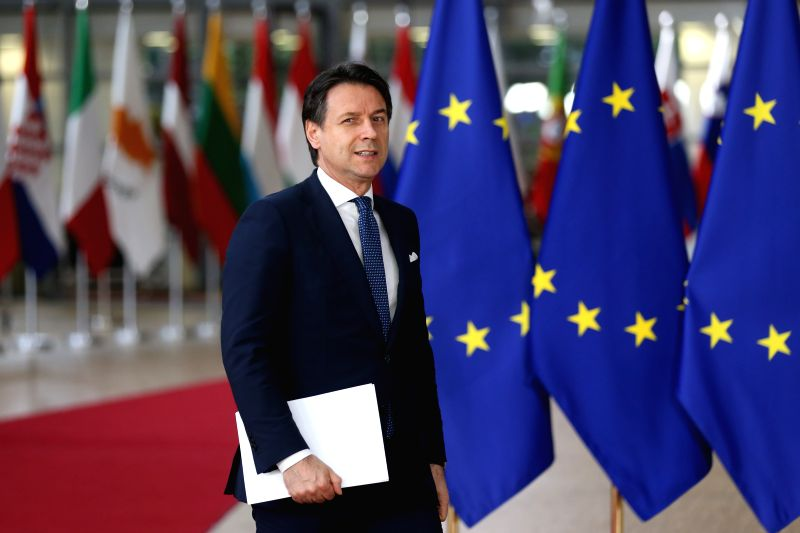 BRUSSELS, May 28, 2019 (Xinhua) -- Italian Prime Minister Giuseppe Conte arrives at the European Union headquarters for an informal dinner of EU heads of state or government in Brussels, Belgium, on May 28, 2019. The European Union (EU) member states