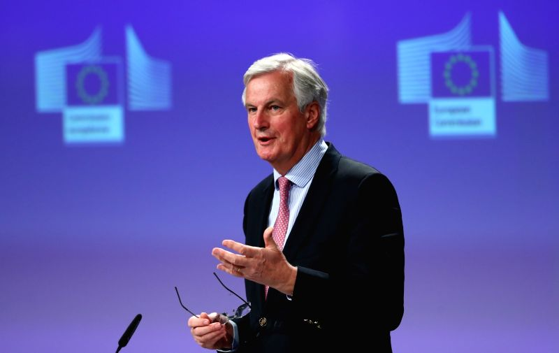 BRUSSELS, May 3, 2017 - EU's chief Brexit negotiator Michel Barnier speaks during a press conference at EU headquarters in Brussels, Belgium, May 3, 2017.