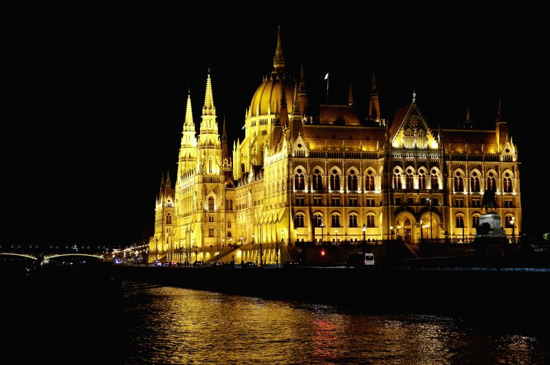BRUSSELS, May 4, 2017 - Photo taken on April 24, 2017 shows night view of Parliament building in Budapest, capital of Hungary.