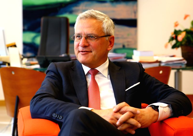BRUSSELS, May 7, 2017 - Belgian Deputy Prime Minister Kris Peeters reacts during an exclusive interview with Xinhua in Brussels, Belgium, April 19, 2017. The success of China's Belt and Road ... - Kris Peeters