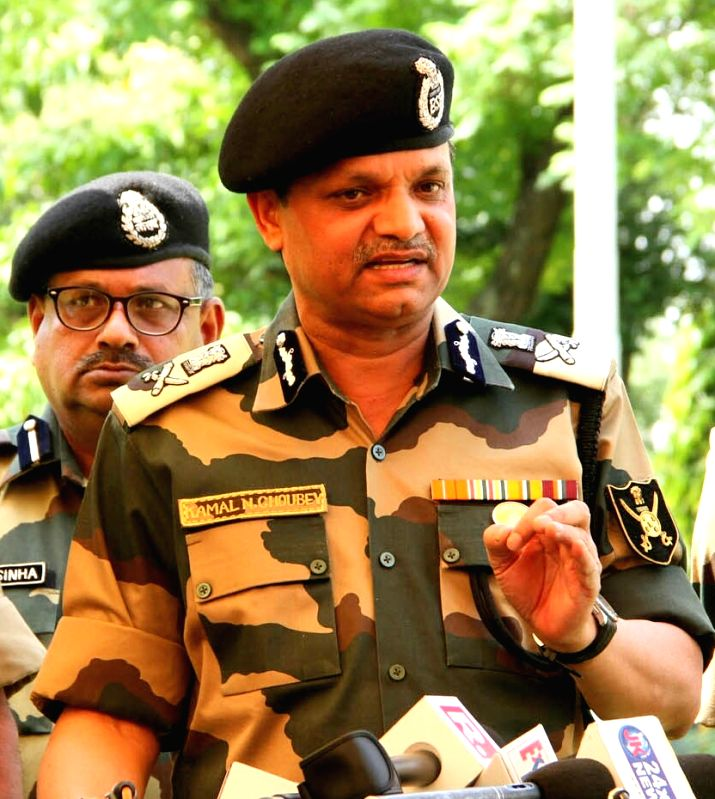 BSF Additional Director General (ADG) Western Command Kamal Nayan Choubey addresses a press conference in Jammu on  May 2, 2017.