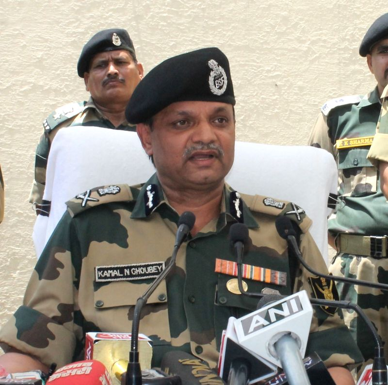 BSF Additional Director General (ADG) Western Command Kamal N Choubey addresses a press conference in Jammu on June 13, 2018.