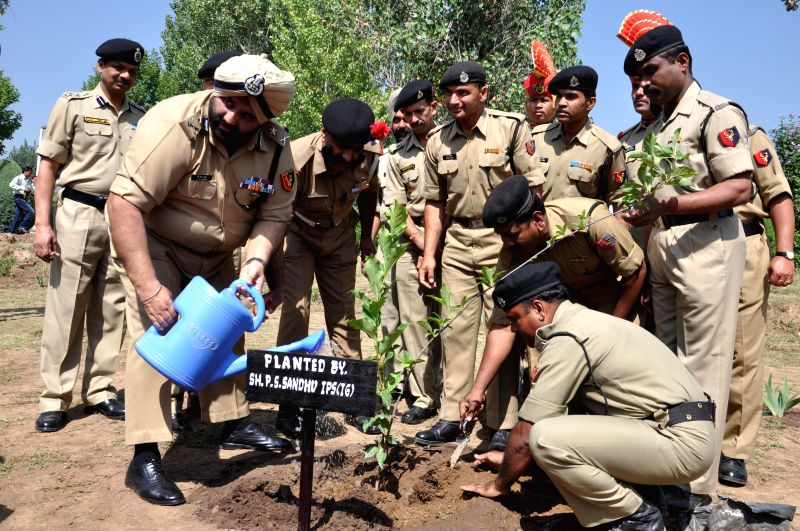 BSF officials plant a sapling at  at Humhama Camp, Srinagar on Aug 19, 2014. BSF under 'My Earth My Duty' has taken a massive planting drive to plant 1.8 lakh saplings throughout the country in ..