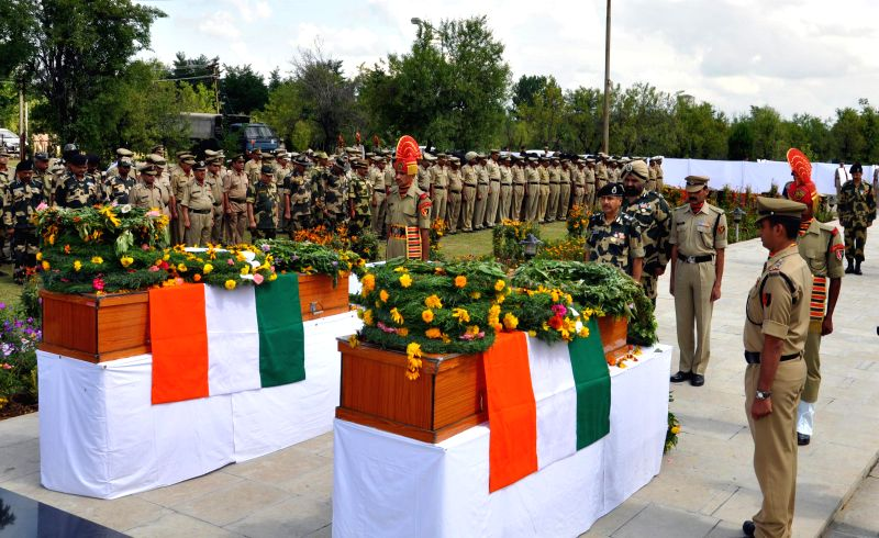 BSF soldiers pay their last respect to ASI Rudal Singh and Head Const Subedar Singh Yadav, who were killed in a militant attack in Pulwama District of  Jammu and Kashmir, at Humhama Camp, Srinagar on - Rudal Singh
