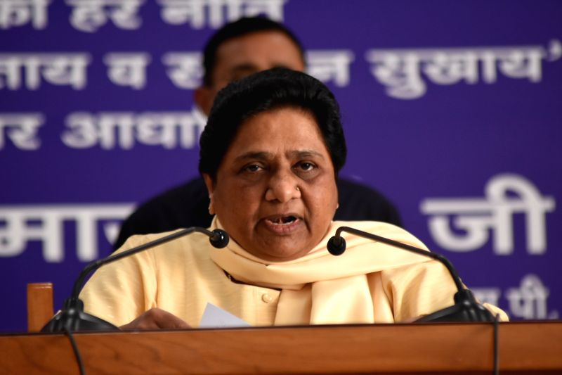 BSP chief Mayawati addresses during the party's national executive committee meeting, in Lucknow on May 26, 2018.