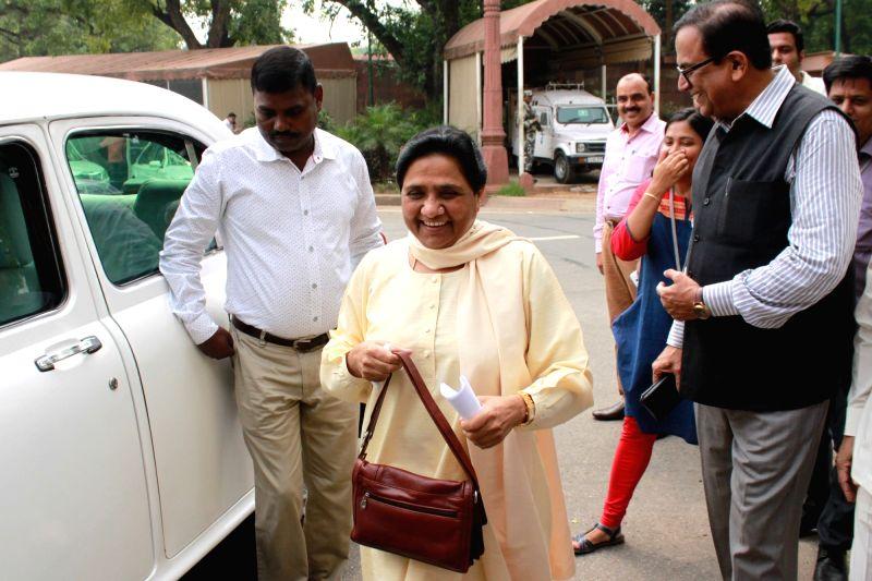 BSP chief Mayawati at Parliament House on July 26,2016.