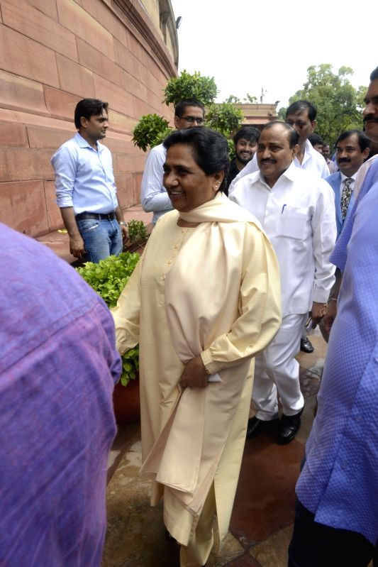 BSP chief Mayawati at Parliament in New Delhi, on July 18, 2016.