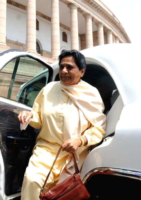 BSP chief Mayawati at Parliament in New Delhi, on July 22, 2016.
