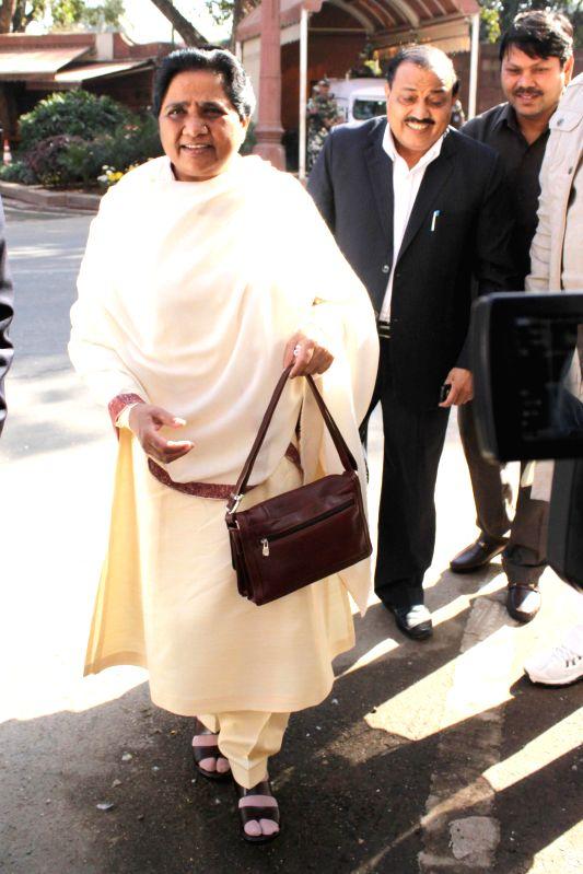 BSP chief Mayawati at the Parliament premises in New Delhi, on Dec 1, 2014.