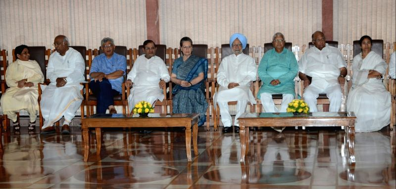 BSP chief Mayawati, er of the Congress parliamentary party in Lok Sabha Mallikarjun Kharge, CPI-M General Secretary Sitaram Yechury,  JDU leader Sharad Yadav, Former Prime Minister Dr. ... - Sharad Yadav, Sitaram Yechury, Manmohan Singh, Lalu Yadav, Mamata Banerjee and Sonia Gandhi