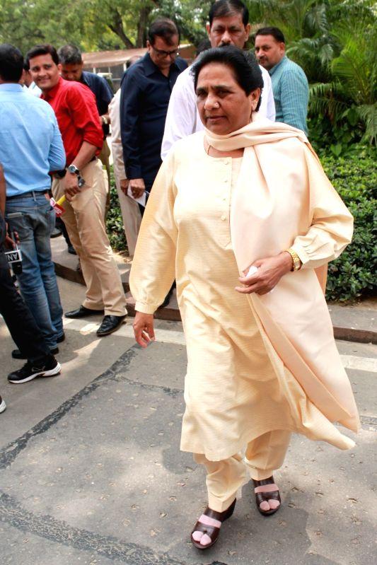 BSP supremo Mayawati at Parliament in New Delhi, on Aug 9, 2016.