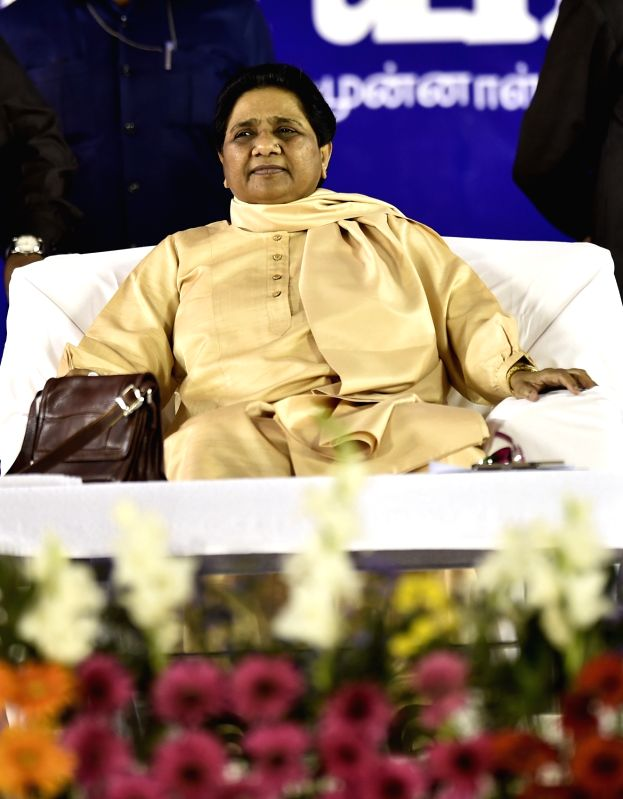 BSP supremo Mayawati during an election rally ahead of Tamil Nadu Assembly polls in Chennai on May 8, 2016.