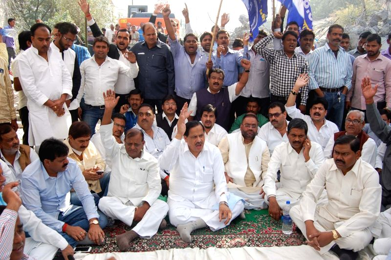 BSP workers stage a demonstration to protest against demolition of a wall in Ambedkar Park of Lucknow on Nov 19, 2015.