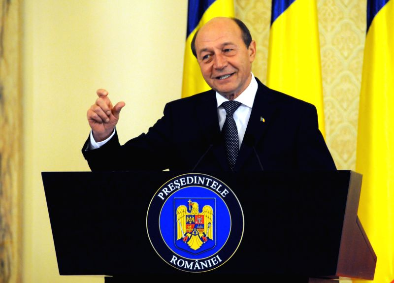 Romanian President Traian Basescu holds his last press conference before ending his mandate, at Presidential Palace Cotroceni, in Bucharest, capital of Romania, ..