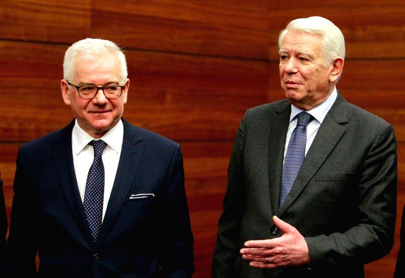 BUCHAREST, Feb. 1, 2018 - Polish Foreign Minister Jacek Czaputowicz (L) poses with his Romanian counterpart Teodor Melescanu after a joint conference in Bucharest, Romania, on Feb. 1, 2018. Stripping ... - Jacek Czaputowicz