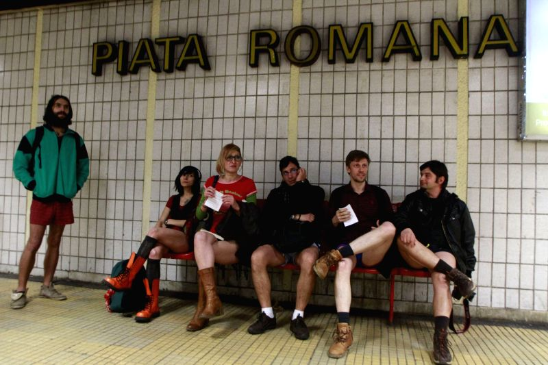 Participants take part in the No Pants Subway Ride in Bucharest, capital of Romania, Jan 11, 2015.