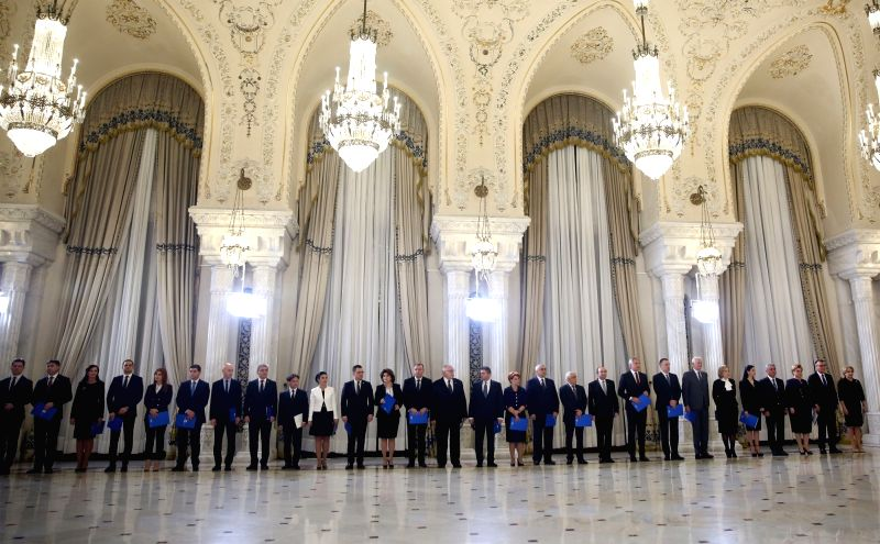 BUCHAREST, Jan. 29, 2018 - Members of Romania's new government attend the swearing-in ceremony in Bucharest, Romania, on Jan. 29, 2018. Romania's first woman Prime Minister Viorica Dancila and her ... - Viorica Dancila