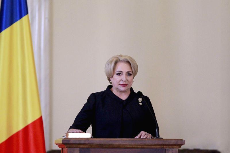 BUCHAREST, Jan. 29, 2018 - Romania's new Prime Minister Viorica Dancila attends the swearing-in ceremony in Bucharest, Romania, on Jan. 29, 2018. Romania's first woman Prime Minister Viorica Dancila ... - Viorica Dancila