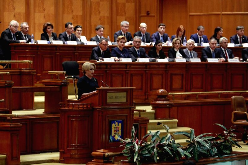 BUCHAREST, Jan. 29, 2018 - Romanian Prime Minister-designate Viorica Dancila (front) speaks during a vote of confidence at the parliament building in Bucharest, Romania, on Jan. 29, 2018. Romania's ...