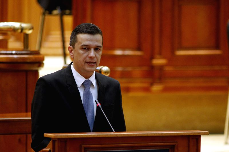 BUCHAREST, Jan. 4, 2017 - Sorin Grindeanu, Romania's nominated Prime Minister addresses the Parliament before a confidence vote in Bucharest, capital of Romania, Jan. 4, 2017. Romania's new cabinet ...