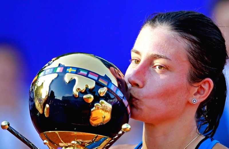 BUCHAREST, July 23, 2018 - Anastasija Sevastova of Latvia kisses the trophy after defeating Petra Martic of Croatia during the final match at the BRD Bucharest Open 2018 WTA tournament in Bucharest, ...