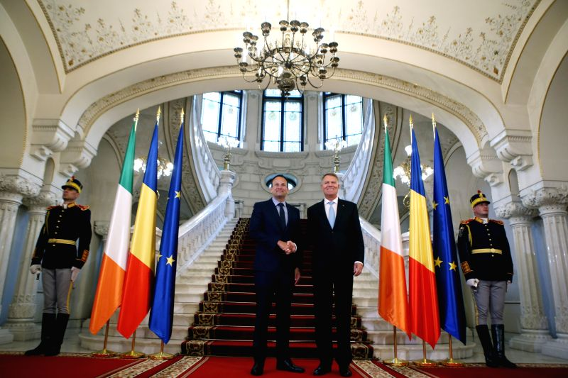 BUCHAREST, July 24, 2018 - Romanian President Klaus Iohannis (2nd R) welcomes Irish Prime Minister Leo Varadkar (2nd L) at Cotroceni Presidential Palace in Bucharest, capital of Romania, July 24, ... - Leo Varadkar