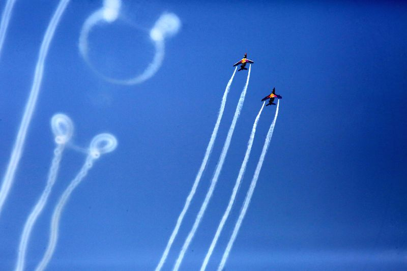 BUCHAREST, July 28, 2018 - Aircraft of Flying Bulls Team perform at Bucharest International Air Show in Bucharest, Romania, on July 28, 2018. Bucharest International Air Show and General Aviation ...