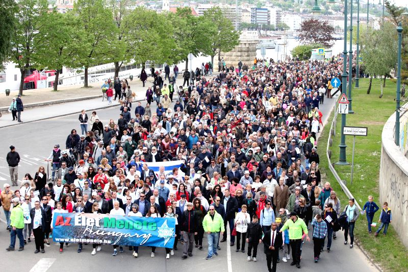 "BUDAPEST, April 17, 2017 - Several thousand people attend the ""March of the Living"" to commemorate the Hungarian victims of the Holocaust during World War II in Budapest, Hungary, April 16, ..."
