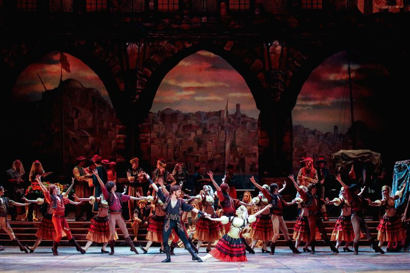 BUDAPEST, April 19, 2017 - Dancers of the ballet company of the Hungarian State Opera perform during a dress rehearsal of classic ballet Le Corsaire based on the poem The Corsair by Lord Byron in ...