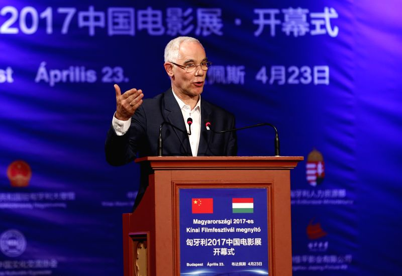 BUDAPEST, April 24, 2017 - Hungarian Minister of Human Resources Zoltan Balog speaks during the opening ceremony of the 2017 Chinese Film Festival at the Urania National Film Theater in Budapest, ...