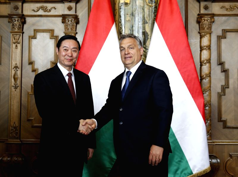 BUDAPEST, April 25, 2017 - Hungarian Prime Minister Viktor Orban (R) meets with Liu Qibao, member of the Political Bureau of the Central Committee of the Communist Party of China (CPC) and head of ... - Viktor Orban