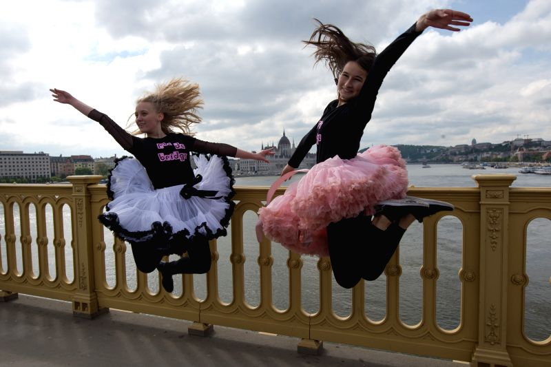 BUDAPEST, April 29, 2017 - Dancers participate in a flashmob to celebrate the International Dance Day on Margaret Bridge in Budapest, Hungary on April 29, 2017.