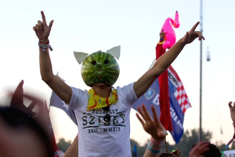 A music fan takes part in the Sziget (Hungarian for Island) Festival on the Obuda Island in Budapest, Hungary on Aug. 17, 2014. The 22nd Sziget Festival is held .