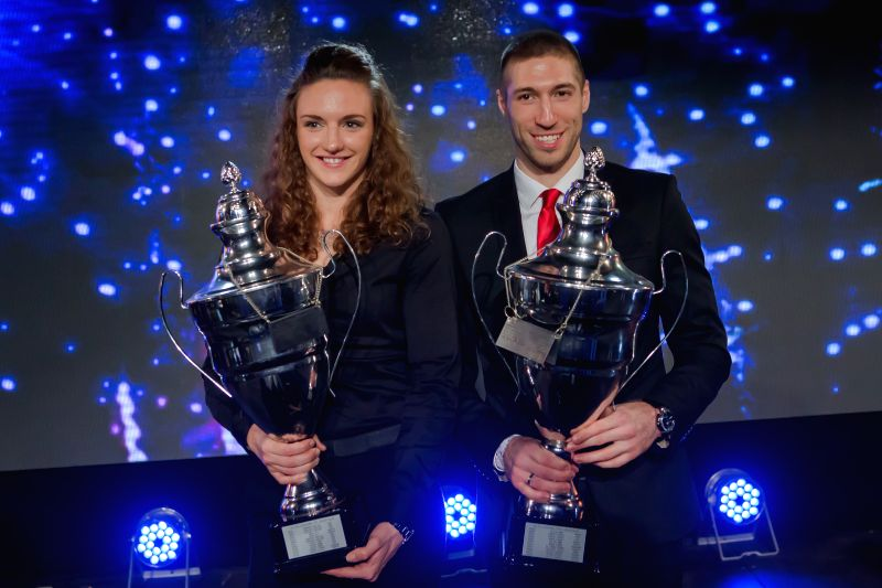 Hungarian Sportswoman of the Year 2014 Katinka Hosszu (L) and Sportsman of the Year Krisztian Berki (R) pose together during the Sports Stars Gala in Budapest, ...