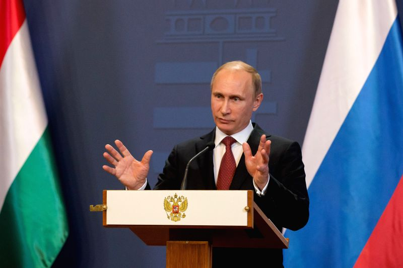Russian President Vladimir Putin speaks at a press conference after meeting with Hungarian Prime Minister Viktor Orban in Budapest, Hungary, on Feb. 17, 2015. ... - Viktor Orban