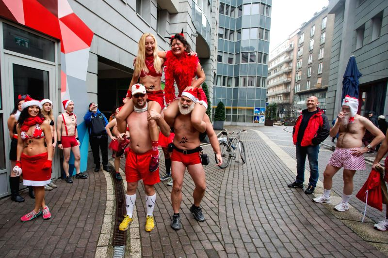 """Budapest (Hungary): Half naked runners get ready for the 11th """"Santa Speedo Run"""" for charity in Budapest, Hungary on Dec. 7, 2014. The event aims to raise money for Budapest's Burattino ..."""