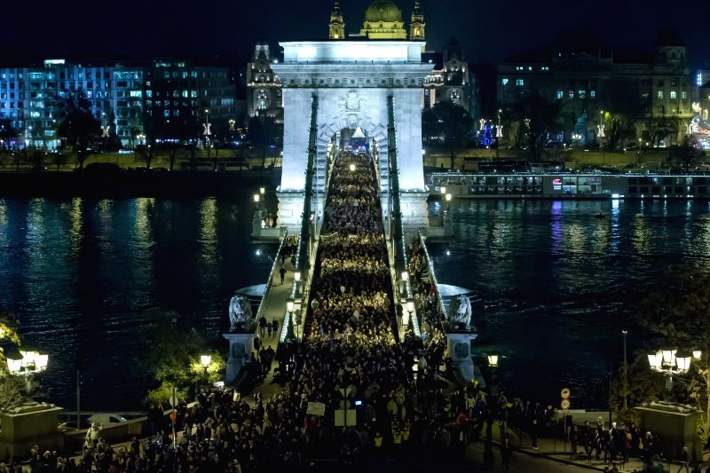 Budapest (Hungary): People take part in a protest against corruption in Budapest, Hungary, on Dec. 4, 2014. The National Tax and Customs Administration of Hungary (NTCA) has been in the opposition ...