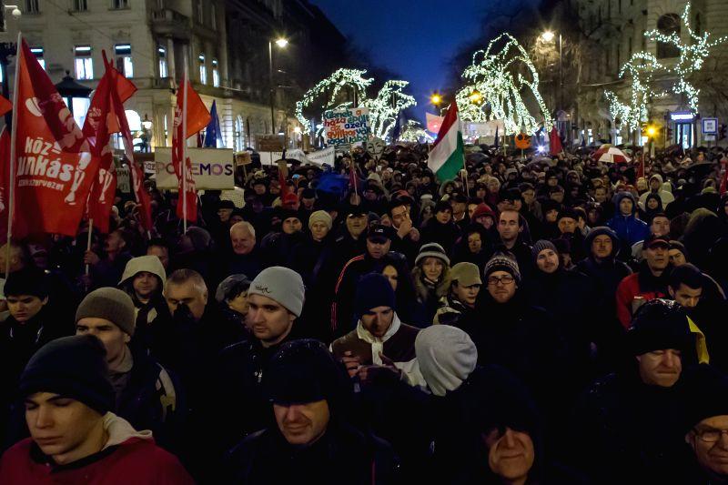 "Several thousand people attend a demonstration called ""changing the general state of affairs"" in Budapest, Hungary, on Jan. 2, 2015.(Xinhua/Attila ..."