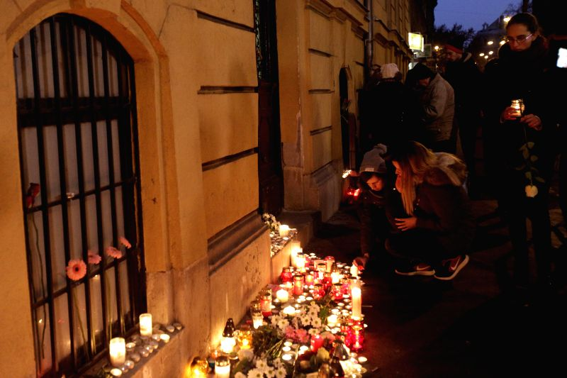 BUDAPEST, Jan. 22, 2017 - People light candles to mourn for the students killed in bus crash, in Budapest, Hungary, on Jan. 21, 2017. Sixteen people, primarily teenagers, died and 26 were hurt when ...