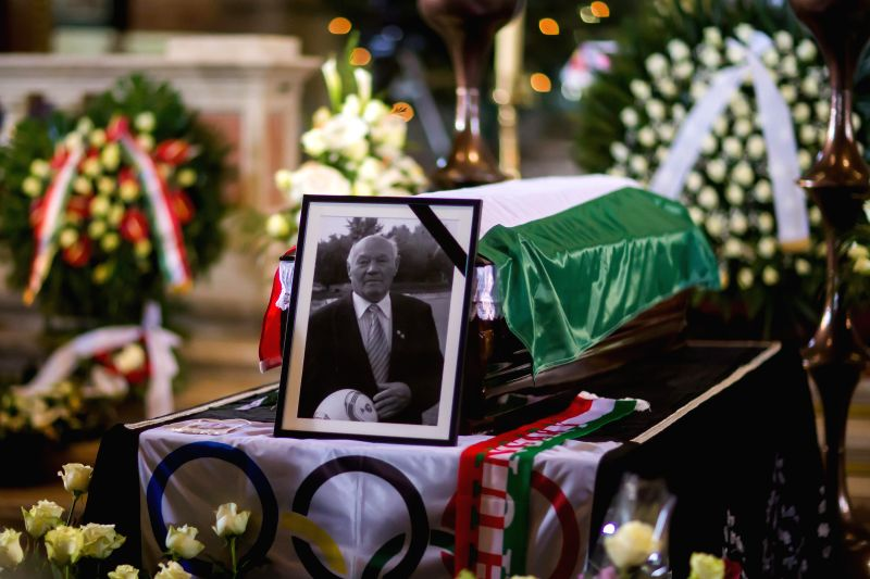 Jeno Buzanszky's funeral is held at St. Stephen's Basilica in Budapest, Hungary, January 30, 2015. Jeno Buzanszky, last of the Mighty Magyars soccer team that ... - Viktor Orban