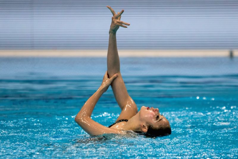 BUDAPEST, July 19, 2018 - Russia's Varvara Subbotina performs during the solo technical routine final at the 16th FINA World Junior Artistic Swimming Championships in Budapest, Hungary on July 18, ...
