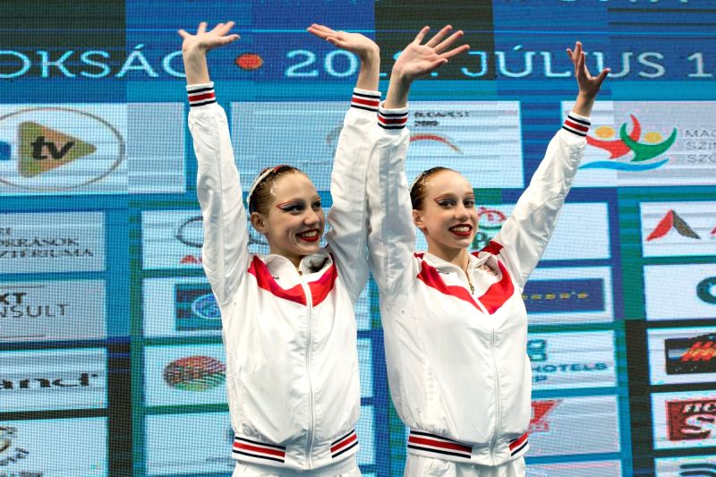 BUDAPEST, July 20, 2018 - Elizaveta Minaeva and Kseniia Ladnaia of Russia attend the awarding ceremony the women duet free final at the 16th FINA World Junior Artistic Swimming Championships in ...
