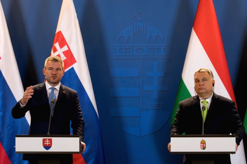 BUDAPEST, June 12, 2018 - Visiting Slovak Prime Minister Peter Pellegrini (L) and Hungarian Prime Minister Viktor Orban attend a joint press conference after their meeting in Budapest, Hungary, June ... - Peter Pellegrini