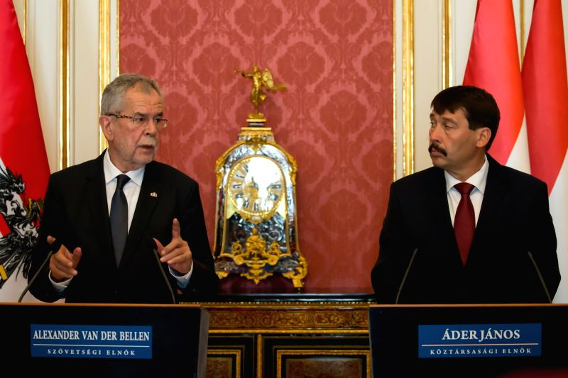 BUDAPEST, June 13, 2017 - Visiting Austrian President Alexander van der Bellen (L) and his Hungarian counterpart Janos Ader attend a press conference after their talks in Budapest, Hungary on June ...