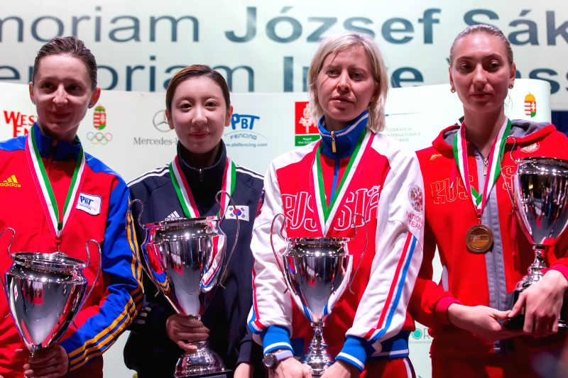 Silver medalist Ana Maria Branza (1st L) of Romania, gold medalist Shin A Lam (2nd L) of South Korea, bronze medalists Tatiana Logunova (2nd R) and Tatyana ...