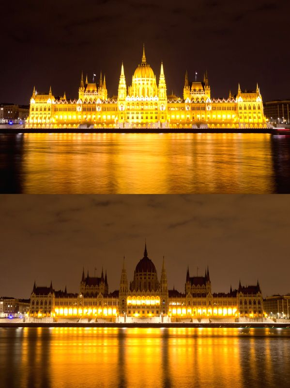The combo photo taken on March 28, 2015 shows the Hungarian parliament building before (above) and after the Earth Hour in Budapest, Hungary. (Xinhua/Attila ...