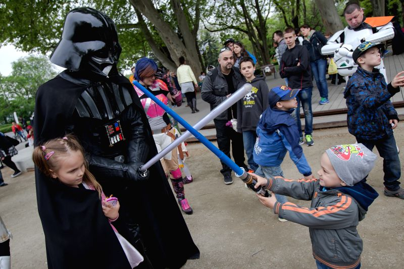 "Hungary's Star Wars fans dressed as their favourite movie characters celebrate the ""Star Wars Day"", which falls on May 4th in Budapest, Hungary on May 3, ..."
